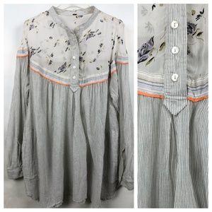 Free people cotton tunic w rayon floral trim